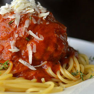 Eat it up...try Sweet Melissa's pasta with a giant meatball